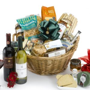 luxury hamper with red and white wine pecks farm shop