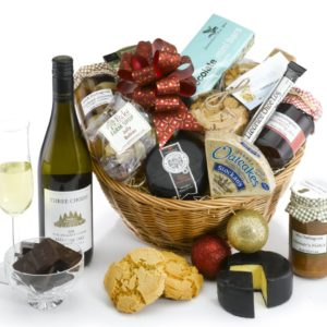 hamper with wine pecks farm shop